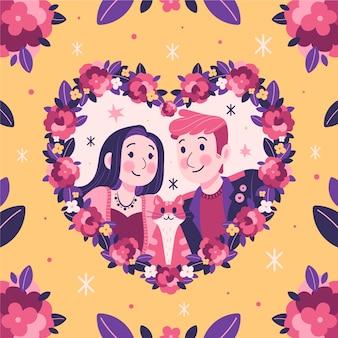Couple romantique avec cadre floral