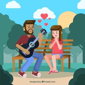 Couple romantique dans le parc avec un design plat
