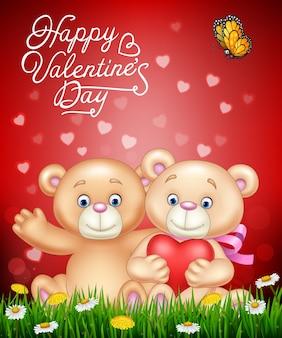 Couple romantique de dessin animé de l'ours en peluche