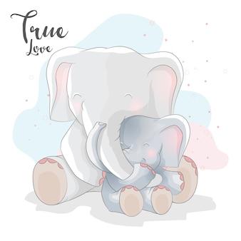 Couple romantique éléphant mignon avec illustration colorée