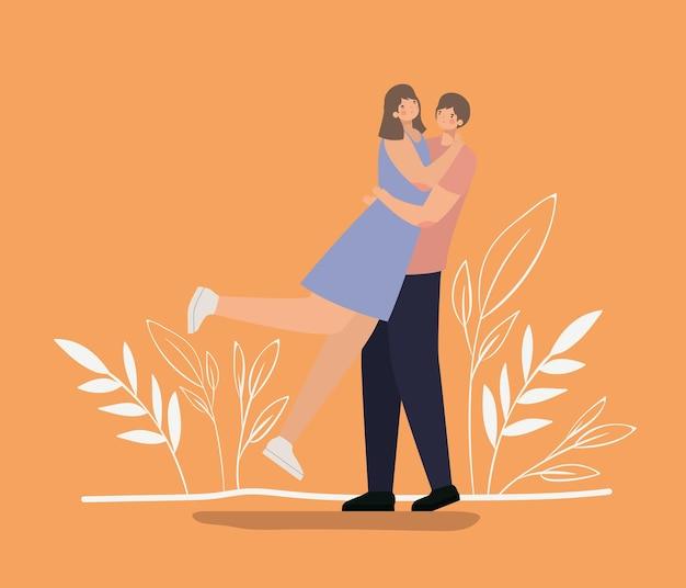Couple romantique, étreindre