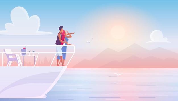 Couple romantique jeune famille admirant le coucher du soleil lors de rencontres sur yacht.