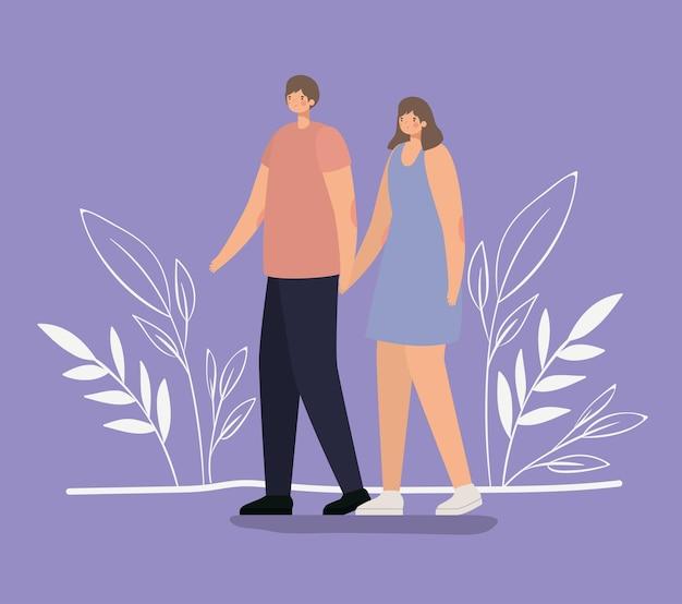 Couple romantique marchant dans la nature
