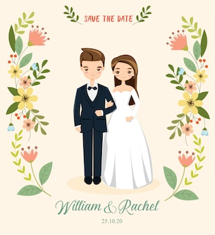 Couple romantique pour carte d'invitations de mariage