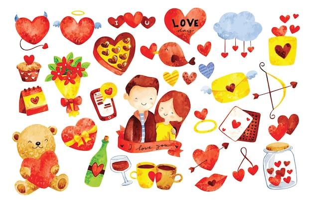 Couple romantique avec style aquarelle mignon doodles
