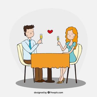 Couple romantique en train de dîner avec un style amusant