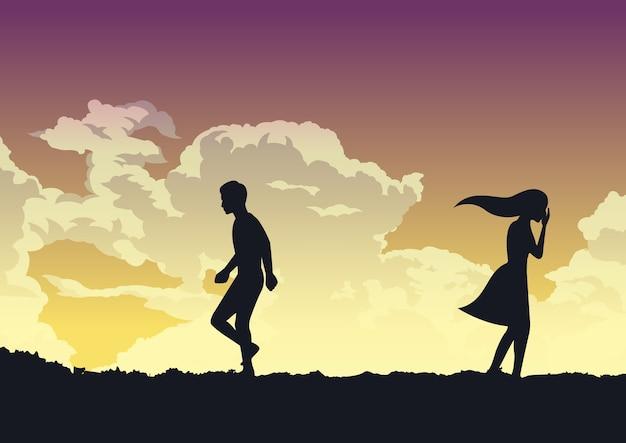 Couple rompant avec une émotion triste