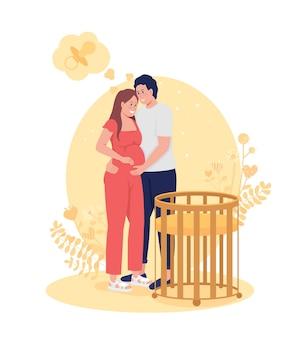 Le couple s'attend à une illustration isolée de vecteur 2d de bébé