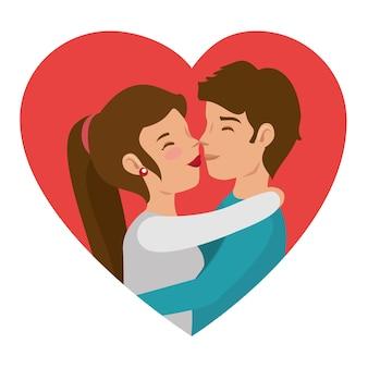 Couple s'embrassant et coeur