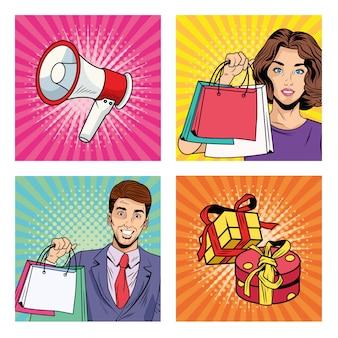 Couple avec des sacs à provisions et des icônes de style pop art