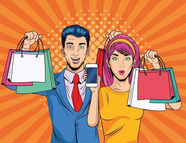 Couple avec des sacs à provisions et style smartphone pop art