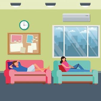 Couple sans visage loisirs salon