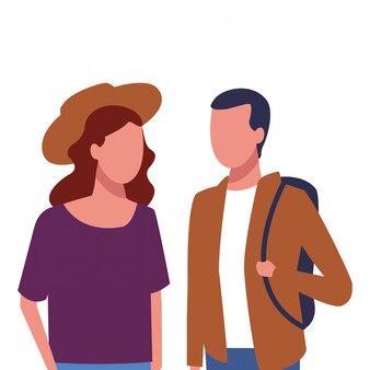 Couple sans visage marchant ensemble