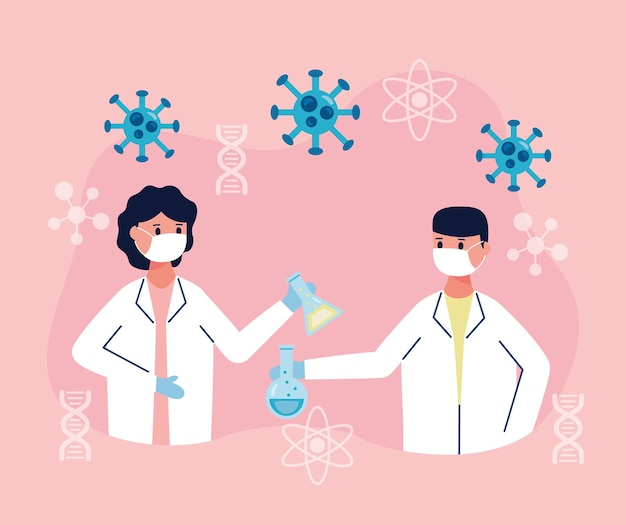 Couple de scientifiques avec la recherche de vaccins à essai en tube