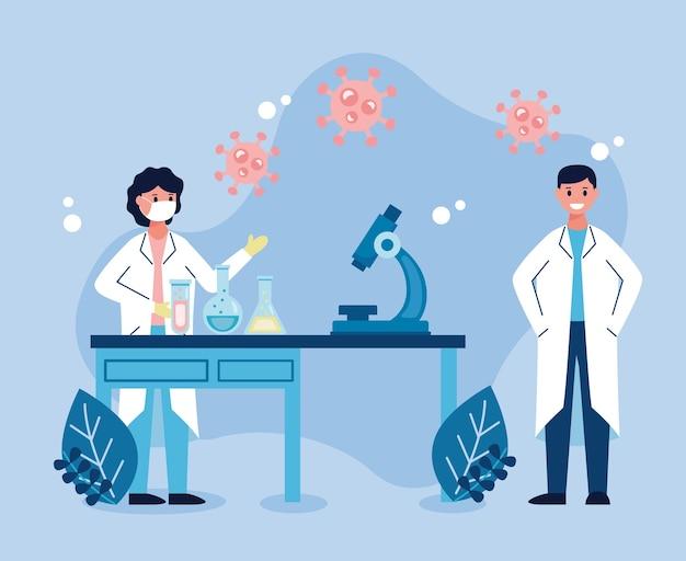 Couple de scientifiques travaillant dans la recherche de vaccins en laboratoire