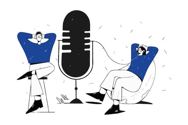 Couple se détendre et se détendre, écouter l'illustration du podcast