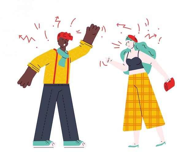 Couple se quereller et jurer, croquis illustration de dessin animé isolé.