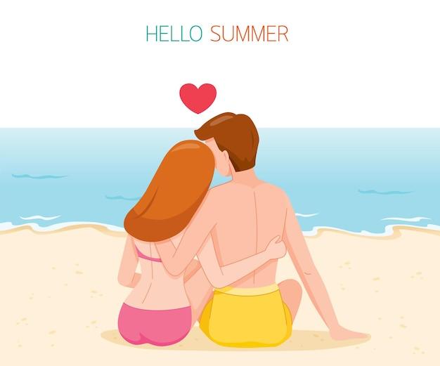 Couple, séance, et, étreindre, à, dos, sur, plage, activités