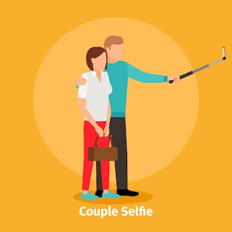 Couple selfie view for mobile photo