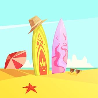 Couple de serf lumineux sur la plage de sable