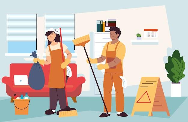 Couple avec service de nettoyage dans la conception d'illustration de l'entreprise