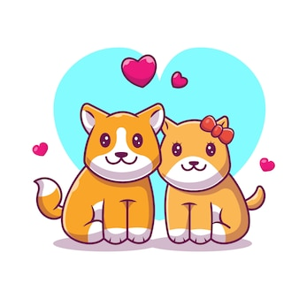Couple de shiba inu fall in love icon. chien et amour, icône animale blanc isolé