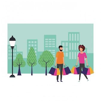 Couple shopping dessin animé
