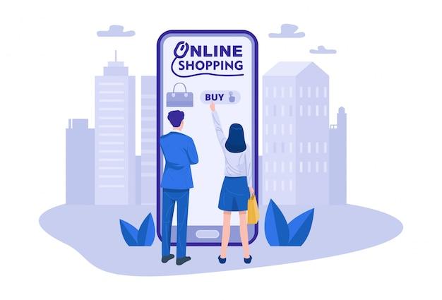 Un couple shopping en ligne à l'aide d'un smartphone. vecteur