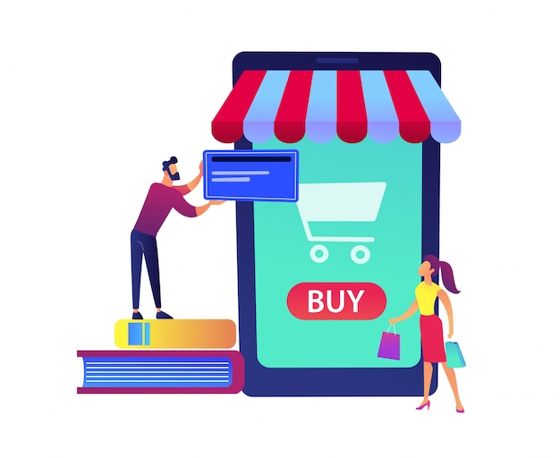 Un couple shopping en ligne avec un énorme smartphone avec illustration vectorielle de panier d'achat.