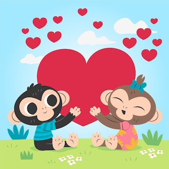 Couple de singes dessinés pour la saint-valentin