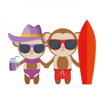 Couple de singes mignons avec cocktail et planche de surf