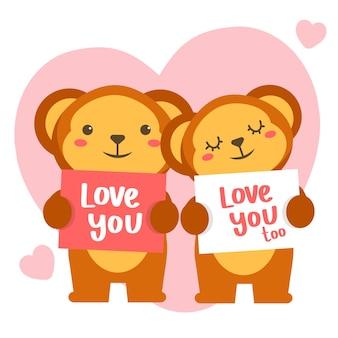 Couple de singes romantiques célébrant la saint valentin