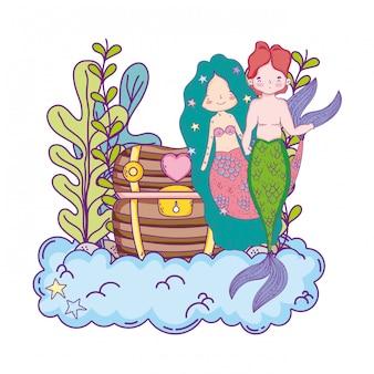 Couple de sirènes avec coffre au trésor sous-marin