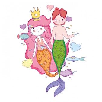 Couple de sirènes avec personnages de coeurs
