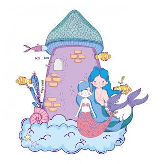 Couple de sirènes avec scène sous-marine du château
