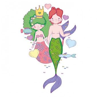 Couple de sirènes scène sous-marine