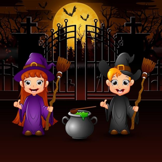 Couple sorcière et potion avec le fond de la pleine lune