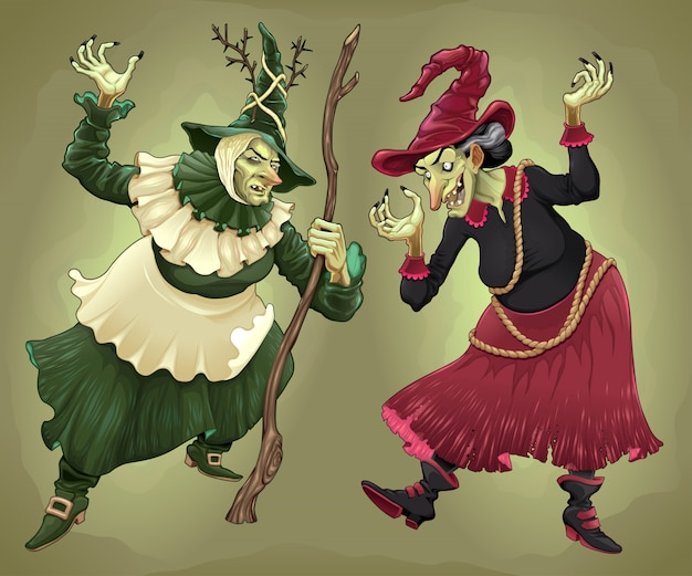 Couple de sorcières pour halloween