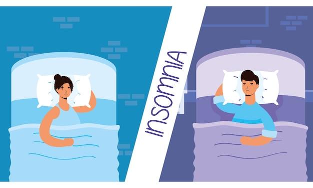 Couple souffrant d'illustration de caractères d'insomnie