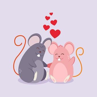 Couple de souris mignon saint valentin