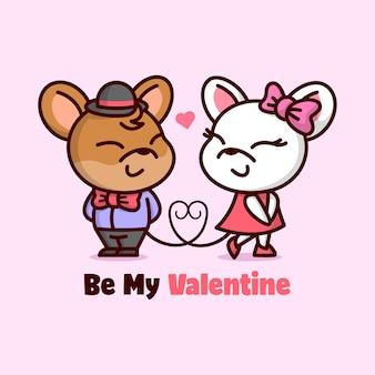 Couple de souris mignon souriant les chacun et tombant la jolie valentine