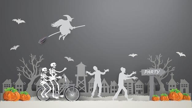 Couple squelette à vélo