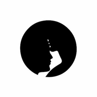 Couple symbole logo conception tatouage pochoir illustration vectorielle