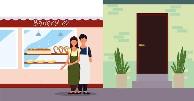 Couple avec tablier dans l'illustration de la façade de la boulangerie de rue