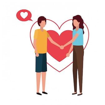 Couple, tenant mains, à, coeurs, caractère