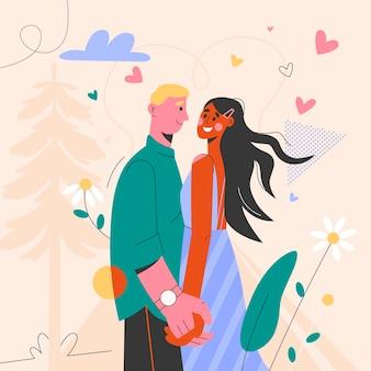 Couple, tenant mains, et, regarder, autre