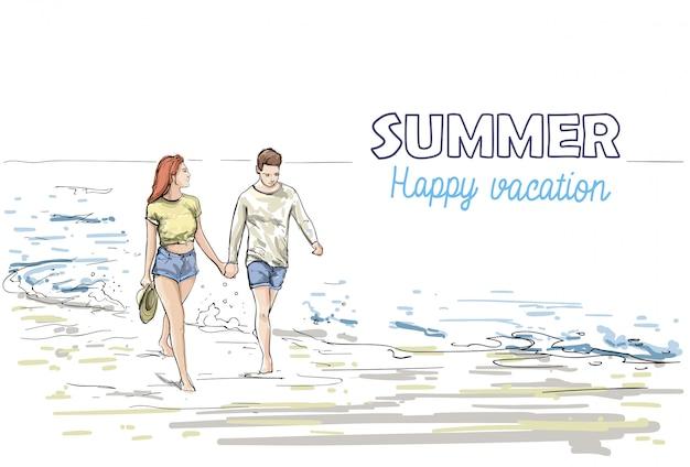 Couple, tenir mains, marcher, plage, homme, femme, vacances, croquis, sur, mer, vacances