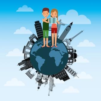 Couple de touristes voyageurs heureux dans les monuments du monde