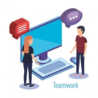 Couple travail d'équipe avec bureau