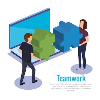 Couple travail d'équipe avec ordinateur portable